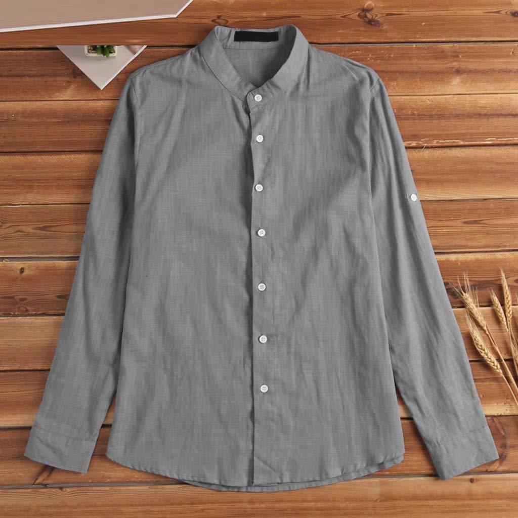 JUTOO Mens Summer Fashionable Pure Cotton and Linen Shirts Comfortable Top