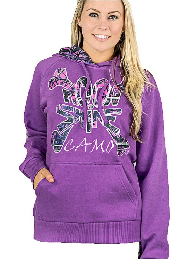 Moonshine Muddy Girl Camo Womens Pull Over Hoodie Jacket Coat Jp (2X, Purple)