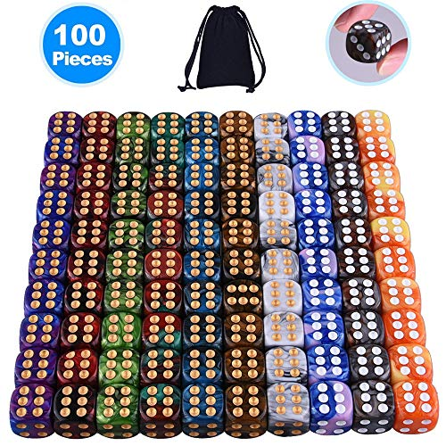 AUSTOR 100 Pieces 6 Sided Game Dice Set 10 Two Tone Colors Dice Round Corner Dice(Free Pouch)