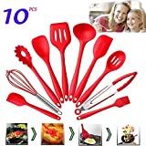 Set of 10 Pieces Silicone Kitchen Cooking Utensils With Hygienic Solid Coating,Heat Resistant Baking Spoonula,Brush,Whisk,Large & Small Spatula,Ladle,Slotted Turner and Spoon,Tongs,Pasta Fork (Red)