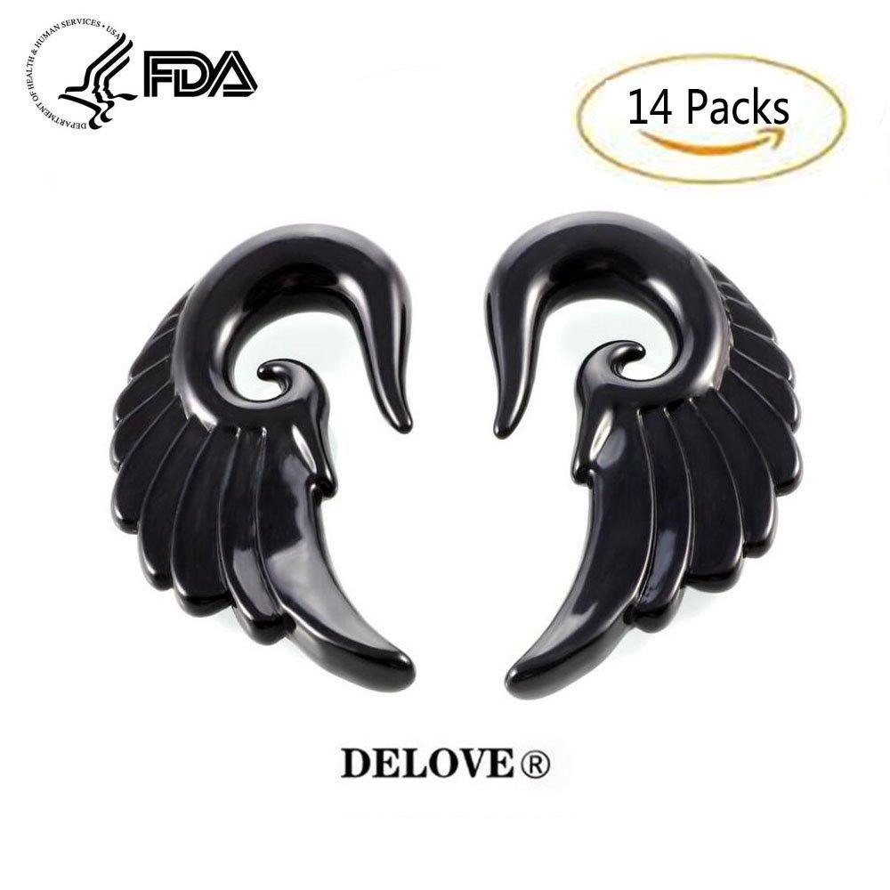 14PCS Acrylic Angel Wings Gray Marble Earplugs 3MM-12MM+Mixed Colors Acrylic Spiral Taper Plug Gauge Ear Stretching Kit-Vintage Angel Wings DELOVE