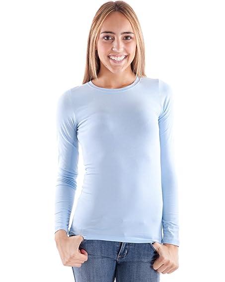 Sky Blue Woman Crew Neck Long Sleeve T-Shirt