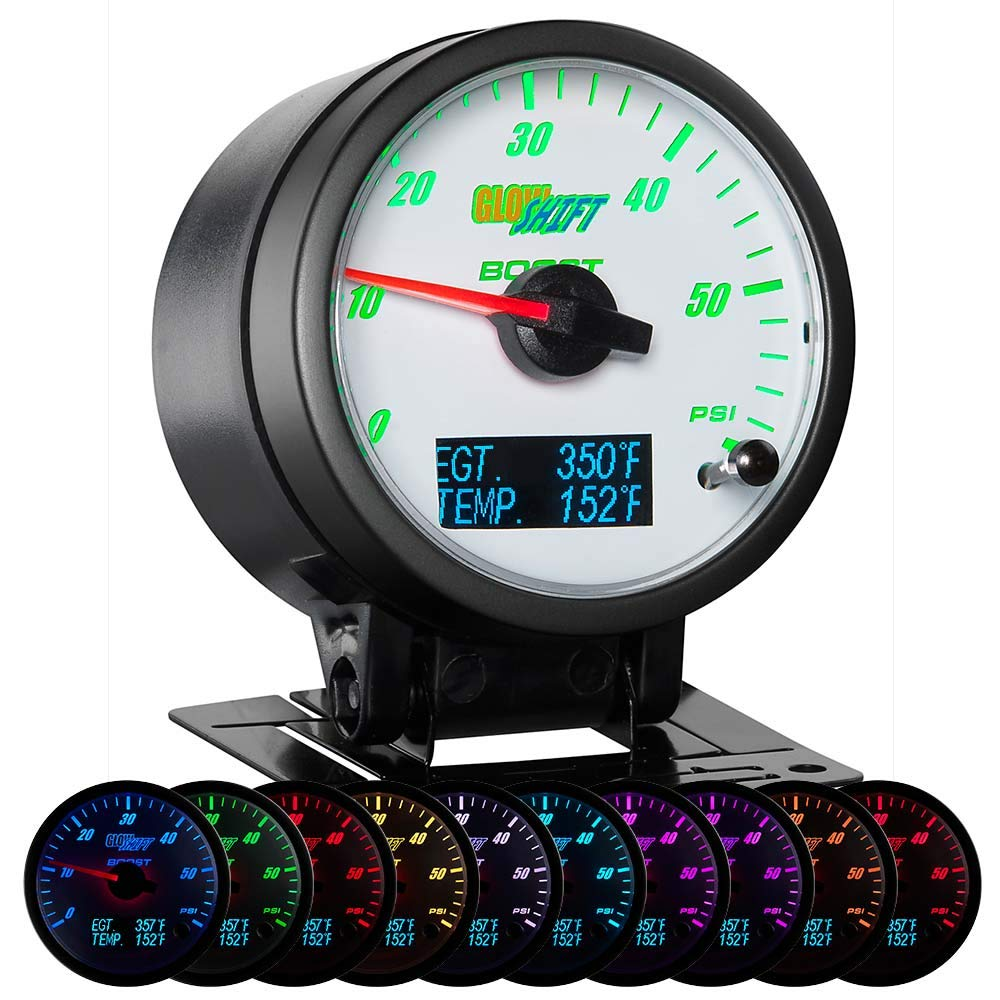 GlowShift 3in1 Analog 60 PSI Boost Gauge Kit with Digital 2200 F Pyrometer Exhaust Gas Temp EGT & 300 F Temperature Readings - 10 Selectable LED Colors - White Dial - Clear Lens - 2-3/8'' 60mm by GlowShift