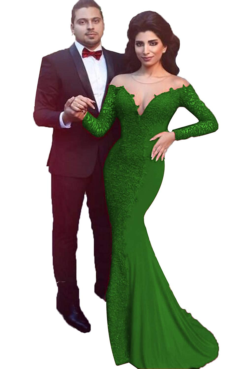 Emeraled Green SDRESS Women's Lace Applique Mermaid Formal Dress Long Sleeve Illusion Neck Evening Gowns