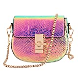 Candice Women Shiny Charming Chain Hologram Holographic Handbag Shoulder Bag Crossbody Bag for Gift