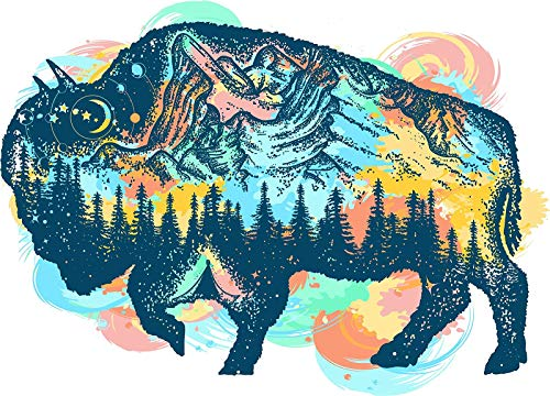 - Shinobi s Starry Forrest Mountains in Buffalo Silhouette Truck Car Bumper Sticker Vinyl Decal 5