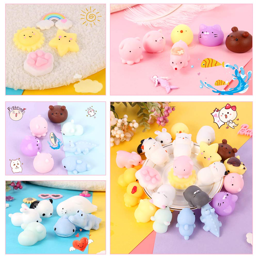Gooidea Mochi Squishy Toys 丨 24pcs Mini Squishies Toy Gifts for Teen Girls and Boys丨 Kawaii Animals Squishies Easter Egg Fillers Easter Basket Stuffers Cat Panda Squeeze Toys Set with Cartoon Bag by Gooidea (Image #2)