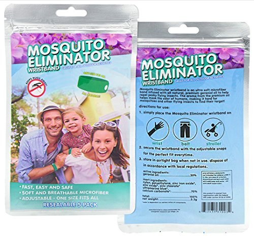 Mosquito Repellent Wristband - Mosquito Eliminator - 5 Pack - Non-Toxic Insect Repellent - Ultra Soft Microfiber - One Size Fits All - All Natural Geraniol Repellent Oil - Lasts Up To 120 Hours
