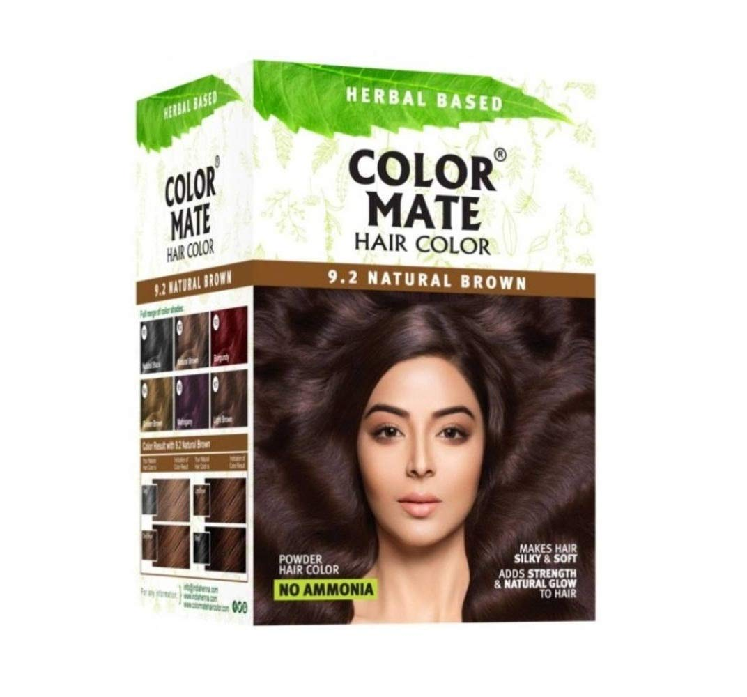 Color Mate Herbal Based Ammonia Free Hair Color with Ayur Product in Combo (9.2-Natural Brown)