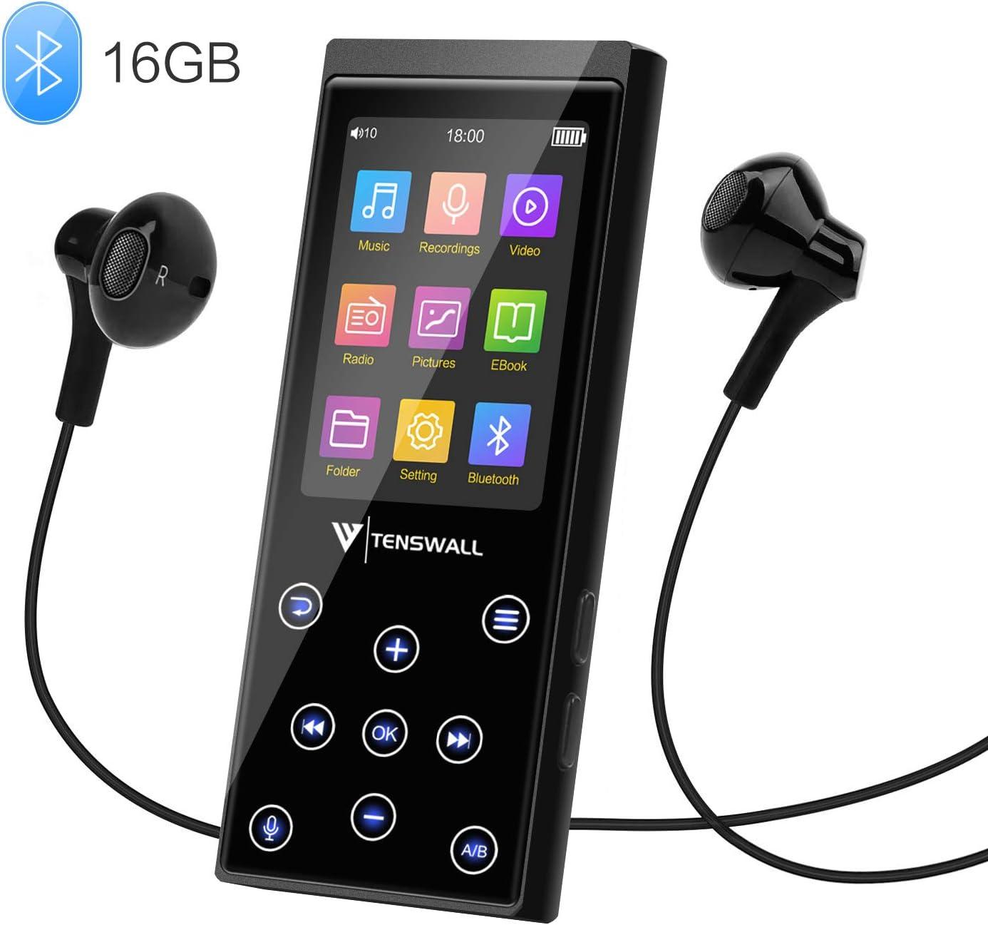 Tenswall MP3 Player, 16GB MP3 with FM Radio Voice Recorder E-Book 2.4'' Screen