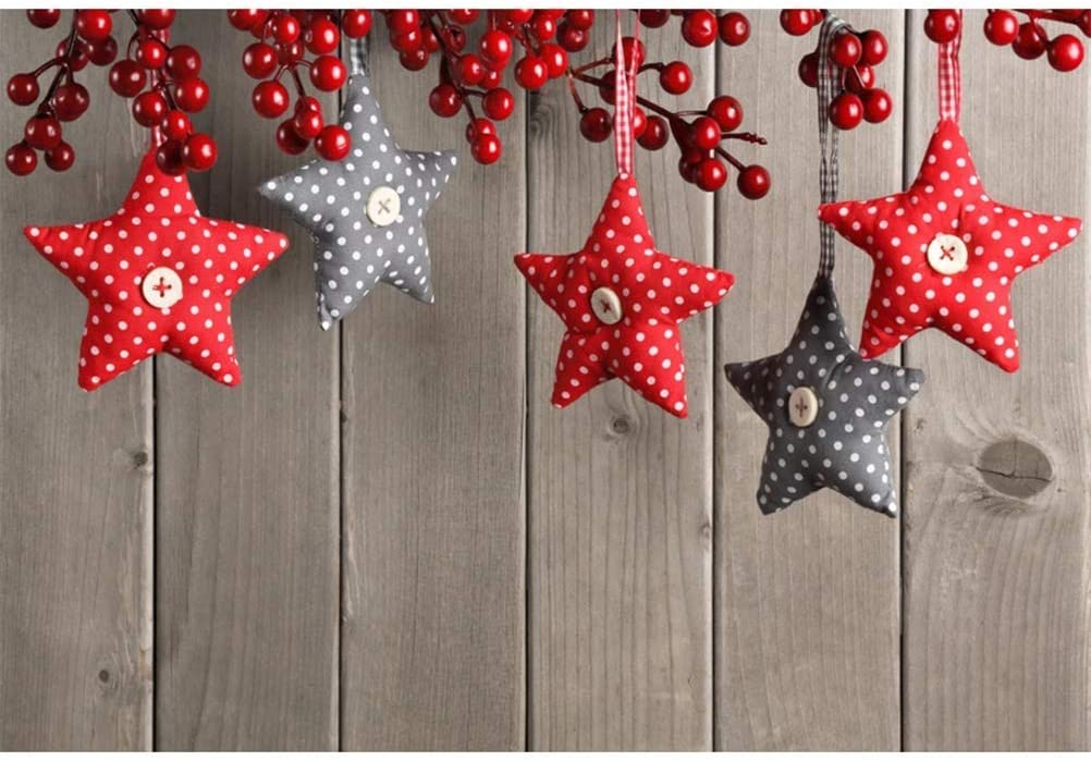 Hanging Red Grey Stars Berries Xmas Decoration Wooden Wall Backdrop Vinyl 10x7ft New Year Christmas Background Child Kids Adult Portrait Shoot New Year Xmas Party Banner
