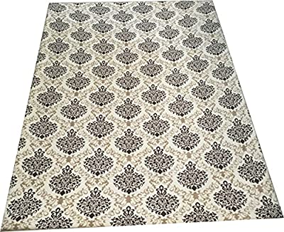 Carpet Cleaning Solution with Washable Protective Welsoft Fabric, Floral Design Elegant Leaves Area Rug Fitted Cover, Purple White