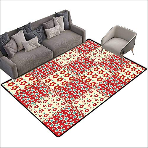 "Floor Mat for Toilet Non Slip Cabin Decor,Traditional Quilt Pattern with Spring Garden Flowers Daisies,Light Yellow Turquoise Red 36""x 60"",Cheap Rugs"