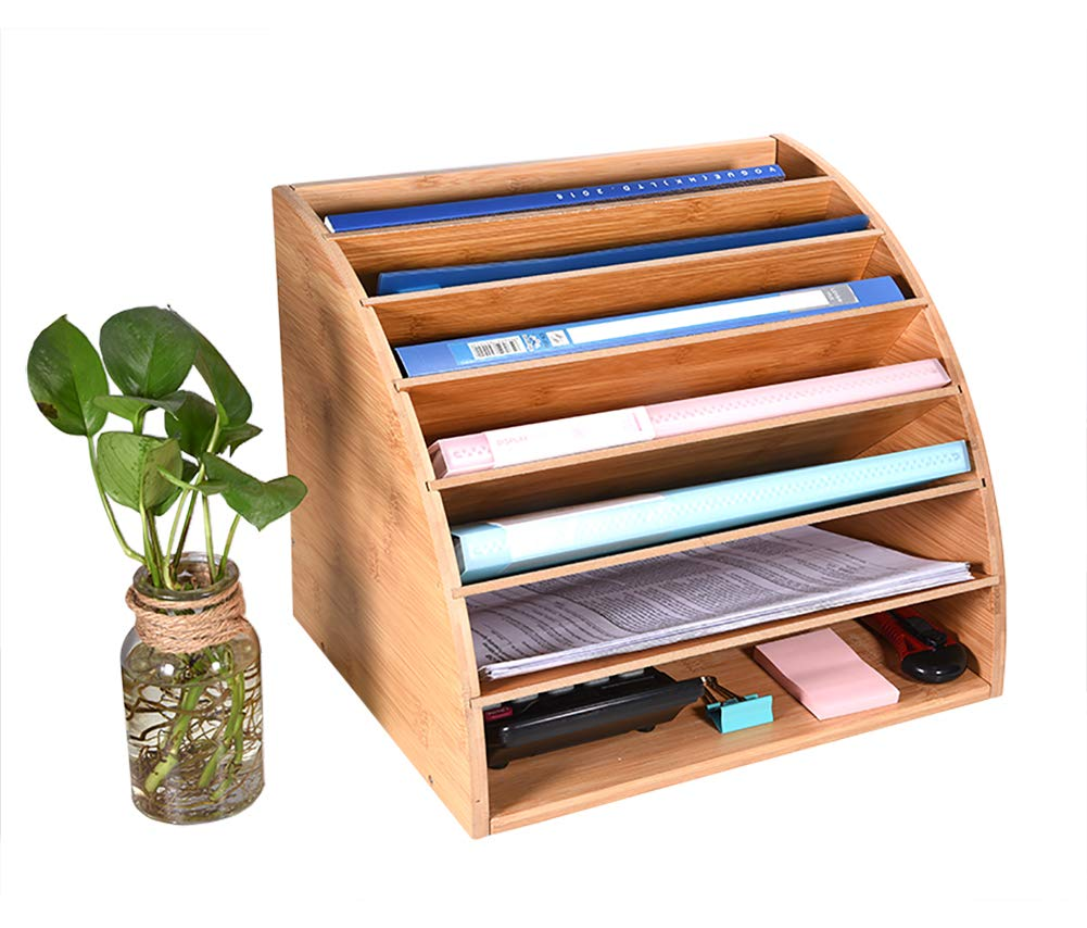 Bamboo File Organizer Desk Paper Sorter with 6 Adjustable Shelves Large Desk Paper Organizer with DIY Compartments by ALL Music-box