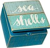 Primitives by Kathy Keepsake Trinket Hinged Box, 4' x 4' x 2.75', Sea Shells