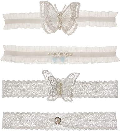 Vintage Bowknot Lace Garter Wedding Bridal Woman Dress Leg Belt Ring White