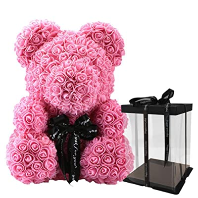 Overstep Valentine's Day Artificial Rose Bear Romantic Rosebear 231616cm Girlfriend Wife Lover (Include Transparent Gift Box): Toys & Games