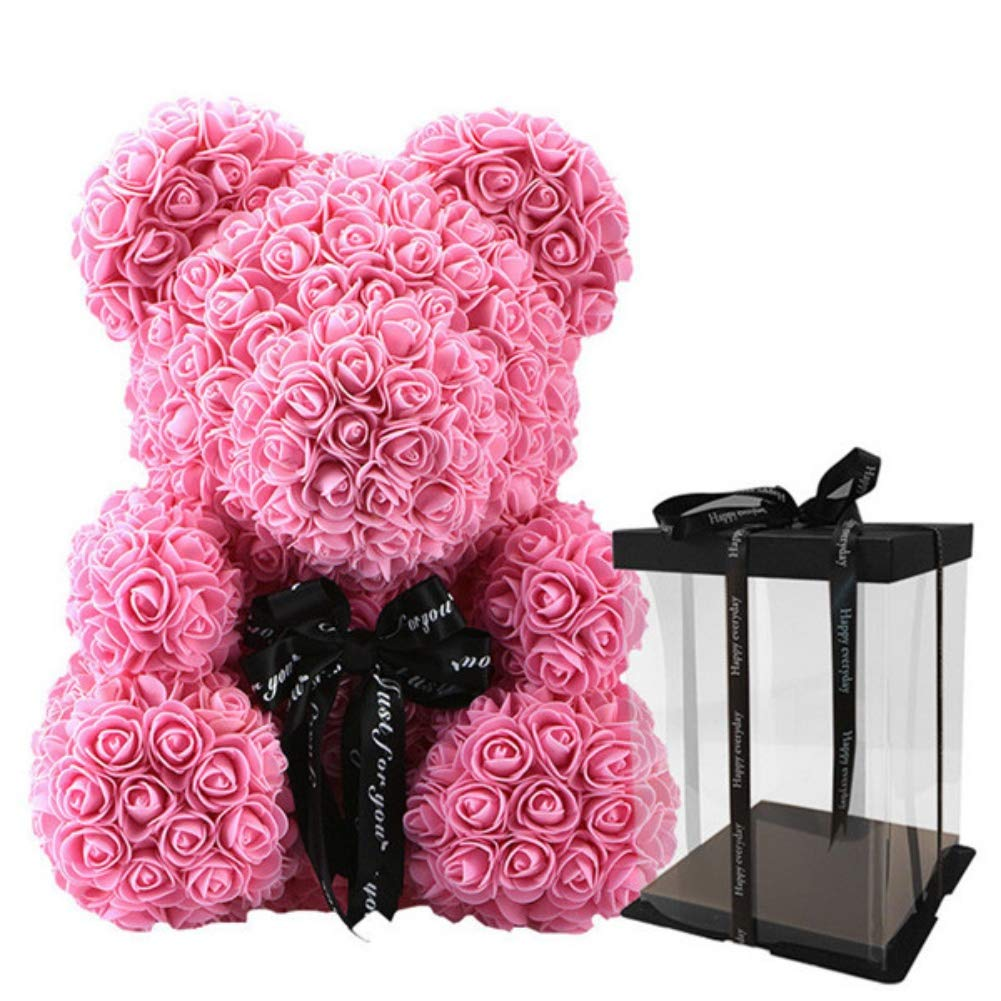 Artificial & Dried Flowers Cute Rose Bear Toy Women Girls Flower Birthday Wedding Decoration Party Doll Toy Anniversary Valentine Gift For Girl Friend Artificial Decorations