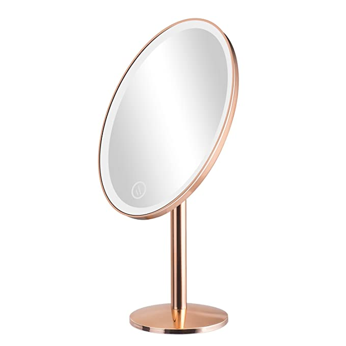 Elgood Lighted Vanity Makeup Mirror with 25 Led Lights Touch Screen 180 Degree Free Rotation Table Countertop for Grils Cosmetic (Rose Gold)