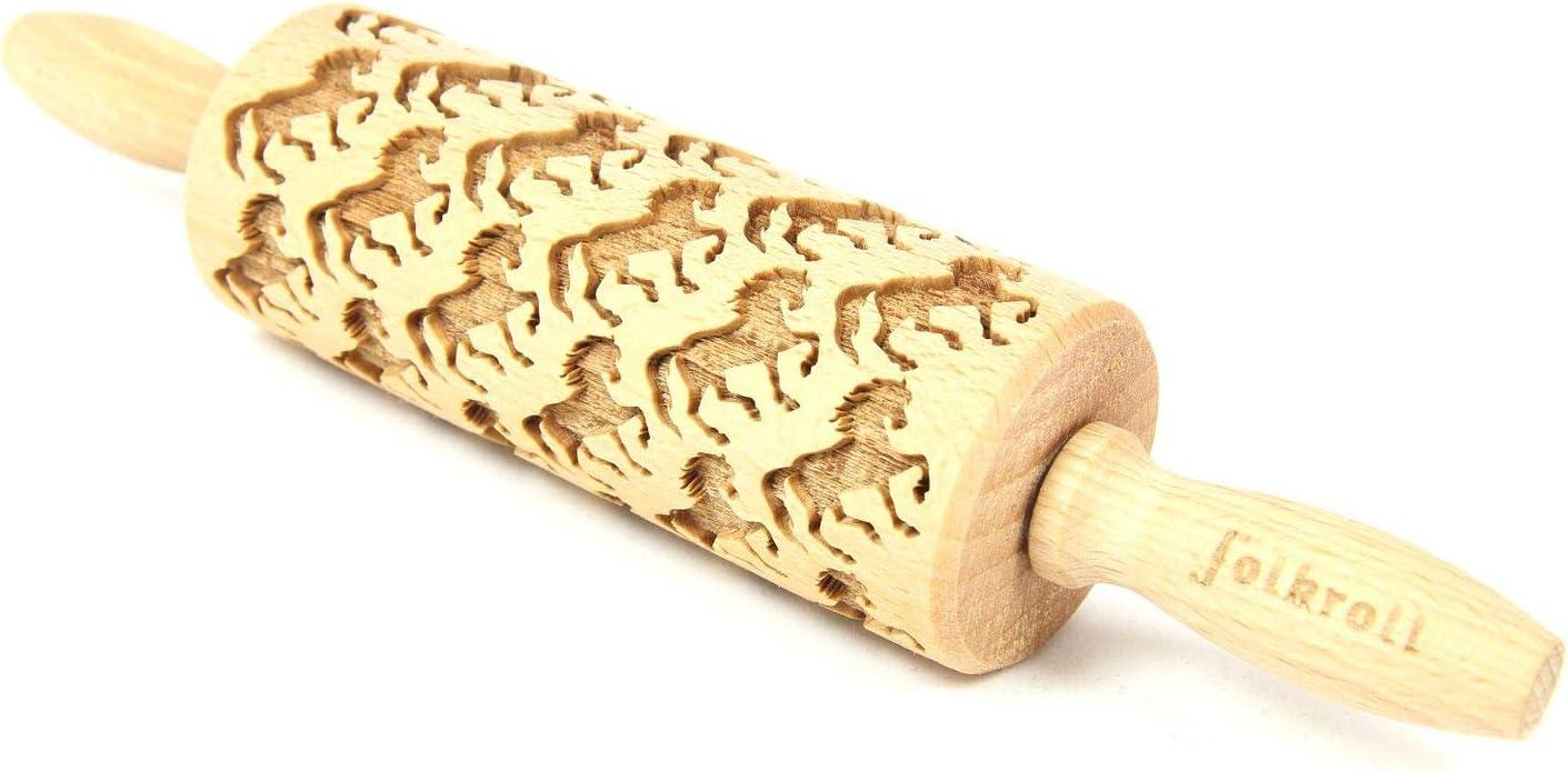 ExtraGourmet Cooky Roller Caballos, Rodillo–Back–Roll Madera con Individuales patrón/Relieve