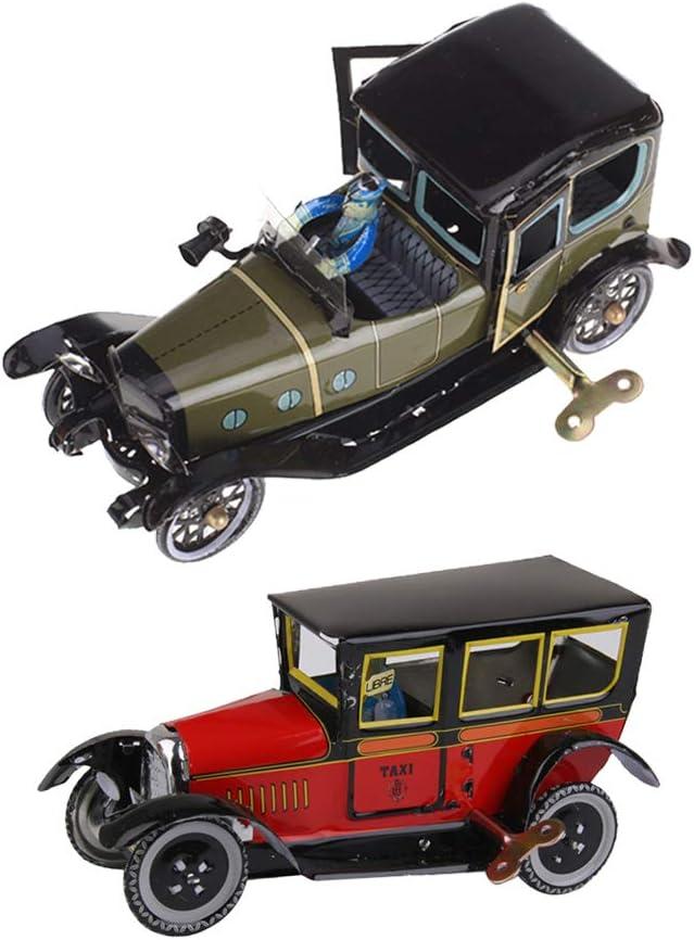 lahomia 2X Adorno de Escritorio de Habitación de Coche de Modelo de Taxi de Reloj de Estilo Clásico Antiguo de Hierro