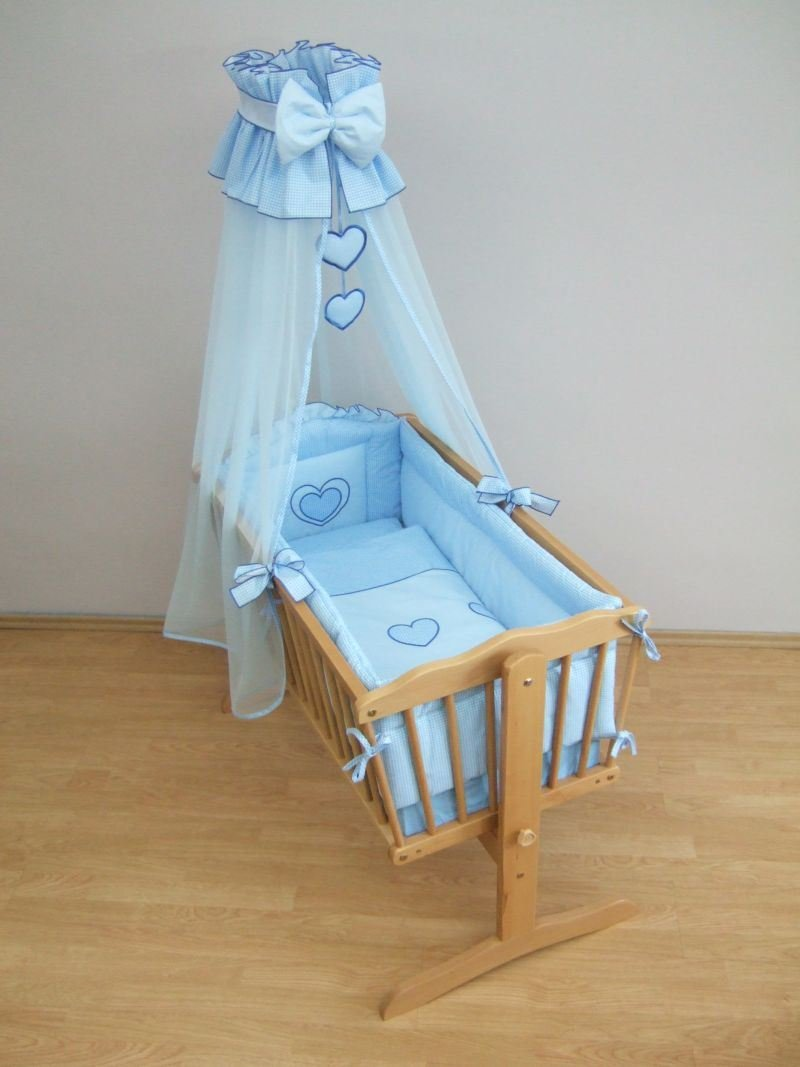 10 Piece Baby Crib Bedding Set 90x40cm Fits Swinging/Rocking Cradle (Hearts Blue Check) Baby Comfort