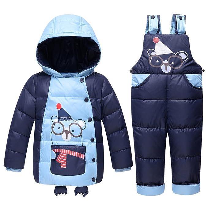 M&A Unisex Térmico Abrigo Chaqueta Nieve Esquí 2 piezas Abrigo Plumas Corta+Pantalones Plumas Tirantes