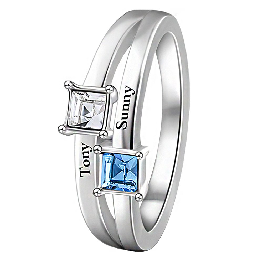 0750f3fcc SOUFEEL Promise Name Ring Custom Rings for Women 925 Sterling Silver Plated  Changeable Crystal Birthstone Personalized Ring with Any 3 Names:  Amazon.co.uk: ...