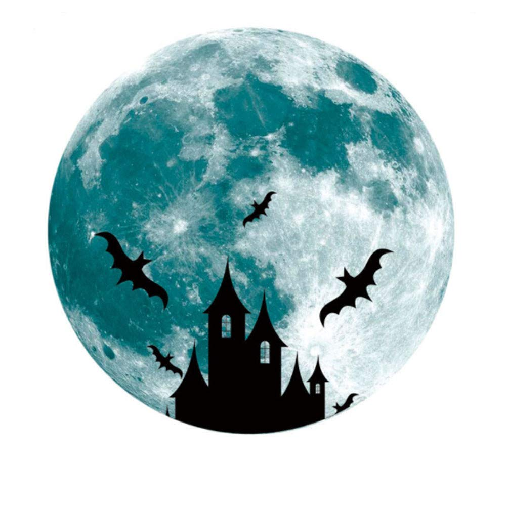 Glow in The Dark Halloween Stickers Full Moon Witch Haunted House Graphic Luminous Fluorescent Sticker Wall Decal for Home Wall Window Door Car Halloween Indoor Decorations
