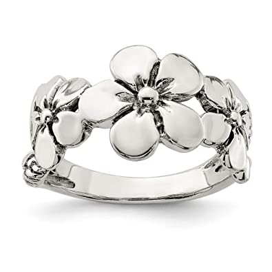 179f65d66 925 Sterling Silver/Flower Band Ring Size 6.00 Flowers/leaf Fine Jewelry  Gifts For