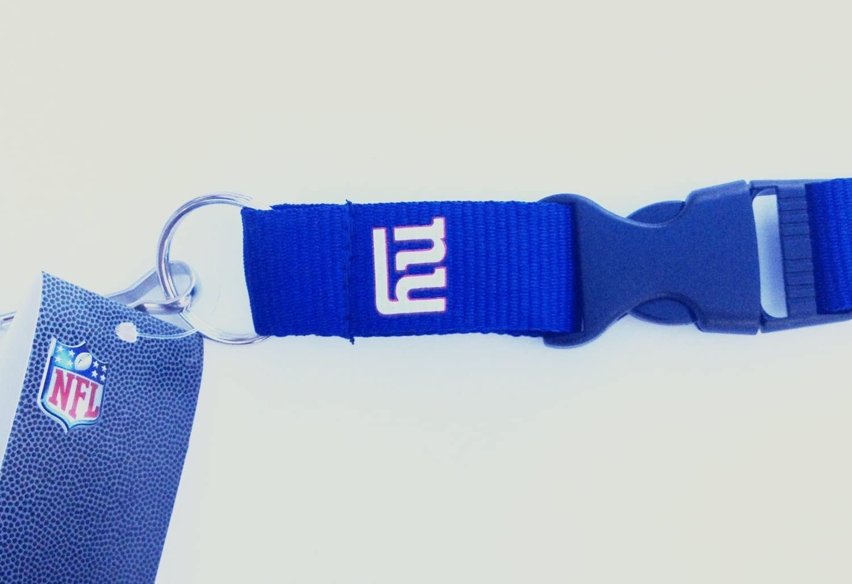 New York Giants NY Blue Breakaway Lanyard with Detachable Keychain Hook Football