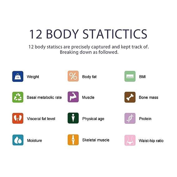 marsboy Mini báscula de baño Digital de Cuerpo báscula con Bluetooth y App Inteligente ponderación analizador de BMI BMR Masa ósea Plataforma de Cristal ...