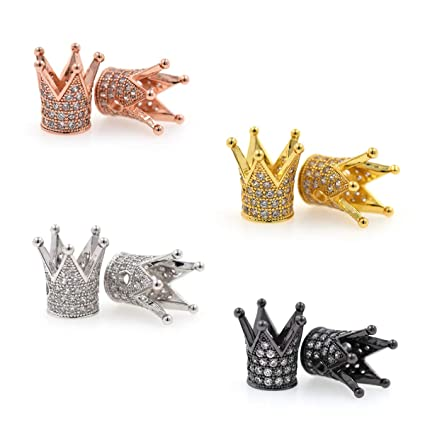 Jewelry & Accessories Lovely Cz King Crown Lion Head Spacer Beads Micro Pave Cubic Zirconia Charm Beads Large Hole Beads Mens Jewelry Making Findings