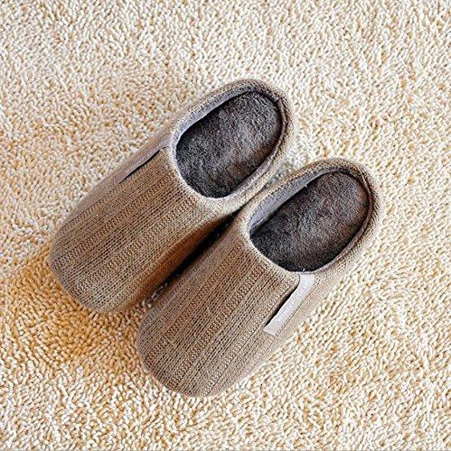 Ladies Casual interior cálido de punto zapatillas zapatillas, rojo, mediano beige