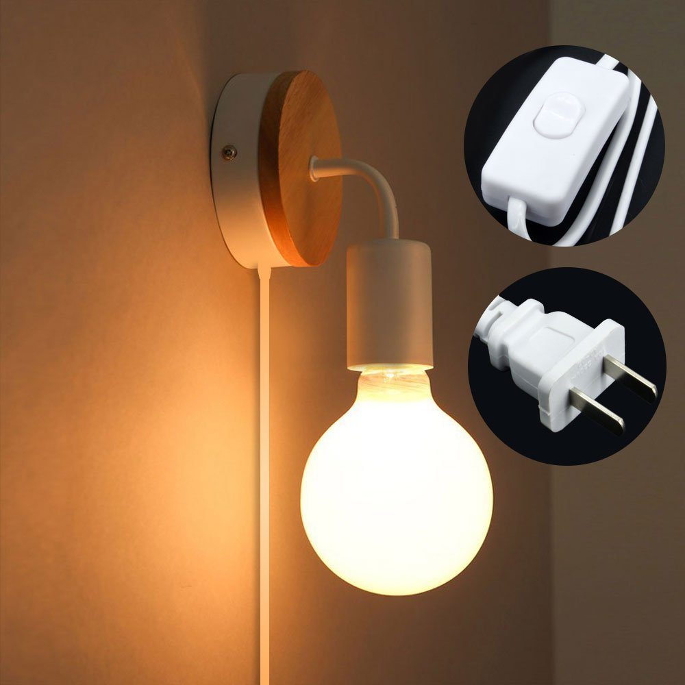 Minimalist Wall Light Sconce Plug-In E26/27 Base Modern Contemporary Style Task Wall Lamp Fixture with Wood Base and Iron Plate for Bedroom, Closet, Guest Room Hall Night Lighting Reading Lamp (White)