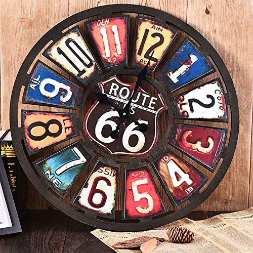 xiangshang shangmao New Route 66 Clock Vintage Style License Plate Gas Oil Pump Garage Wall Art Emblem