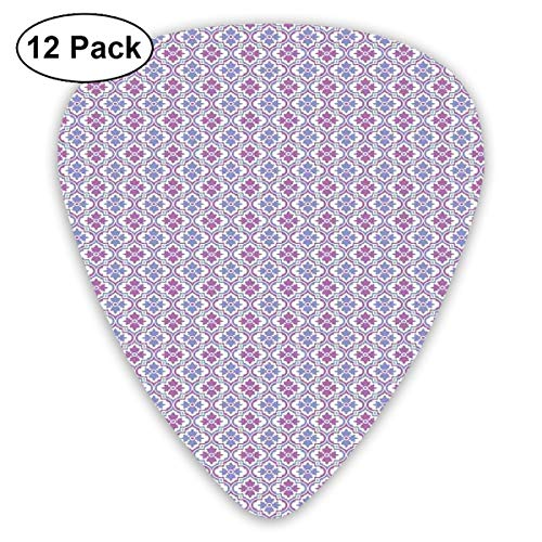 Guitar Picks - Abstract Art Colorful Designs,Ethnic Damask Inspired Motifs Tile Pattern With Arabic Turkish Cultural Origins,Unique Guitar Gift,For Bass Electric & Acoustic Guitars-12 Pack