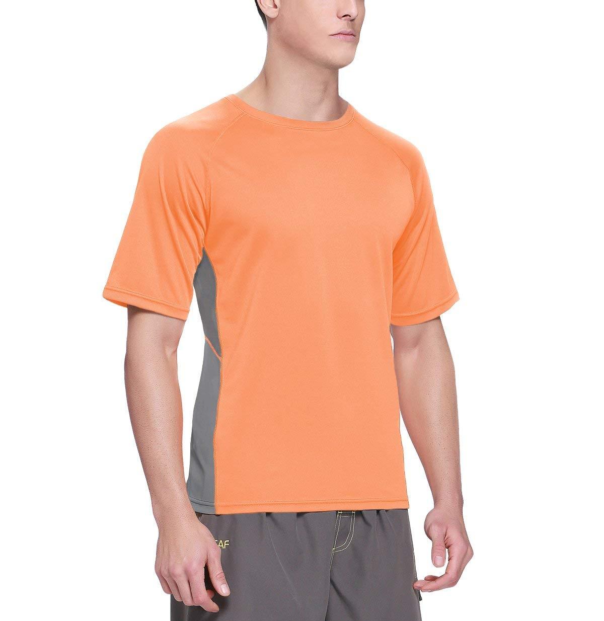 Baleaf Men's Short Sleeve Sun Protection Rashguard Swim Shirt UPF 50+ Fluorescent Orange S by Baleaf (Image #3)