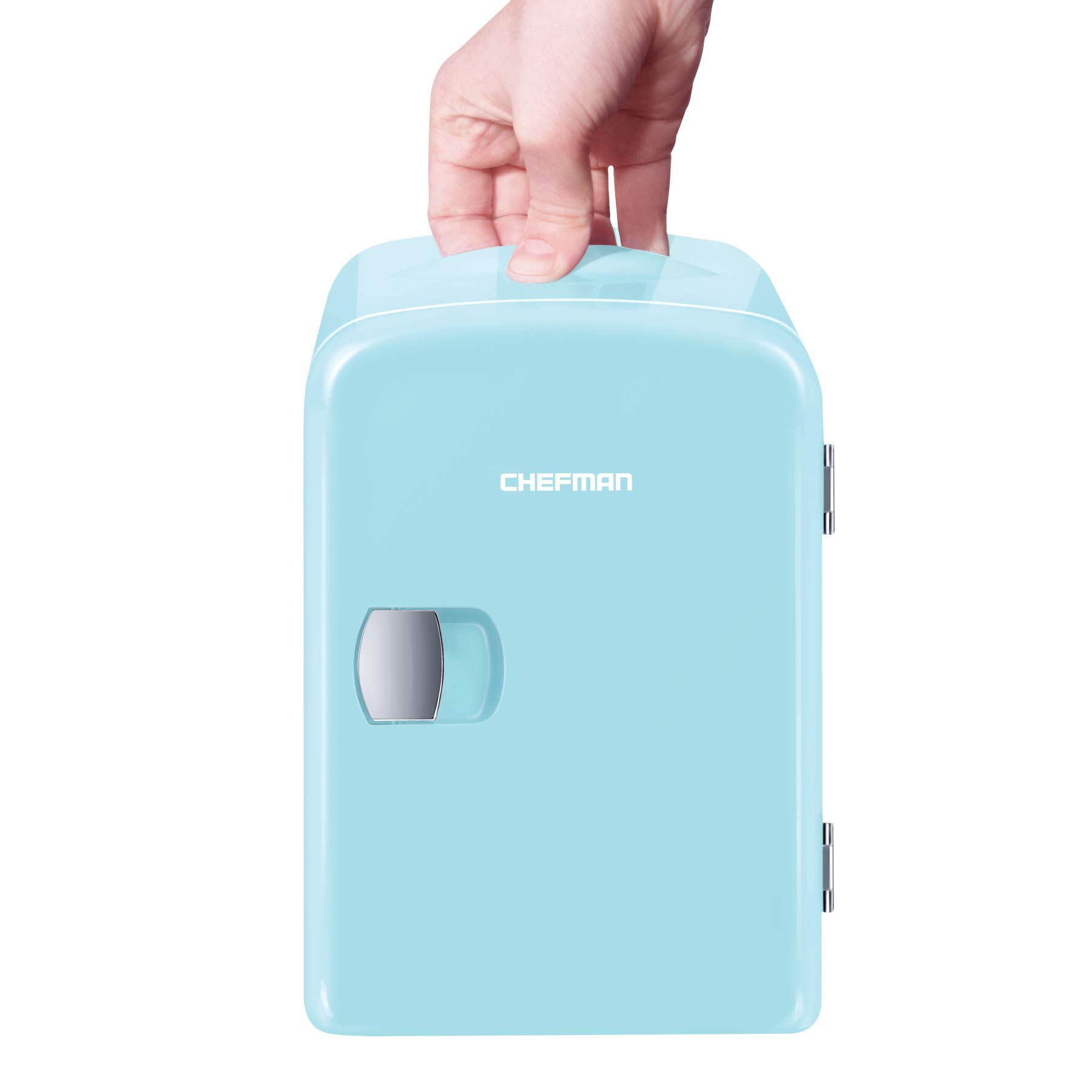 Chefman Mini Portable Compact Personal Fridge Cools & Heats 4 Liter Capacity, Chills 6 12oz cans, 100% Freon-Free & Eco Friendly, Includes Plugs for Home Outlet & 12V Car Charger, Blue,