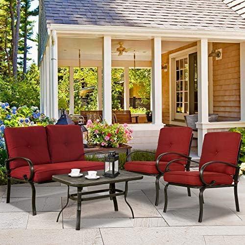 CMP Juego de muebles de jardín y mesa de café de hierro forjado, 4 piezas, 2 sillas, color rojo ladrillo: Amazon.es: Jardín