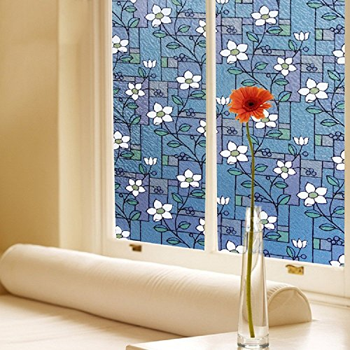 177-Inch by 787-Inch45cm×200cm Color-Printed No-Glue Static Decorative Privacy Window Film with Floret Design
