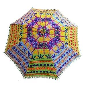 Bordado Decoración del hogar Paraguas hecho a mano azul Parasol decorativo Mano Abierta Mujeres sol Paraguas 33 '' L