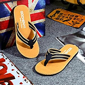 Hot Sale! Men Slippers,Canserin 2017 Men's Summer Stripe Flip Flops Shoes Sandals Male Slipper Flip-flops (10 D(M) US, Khaki)