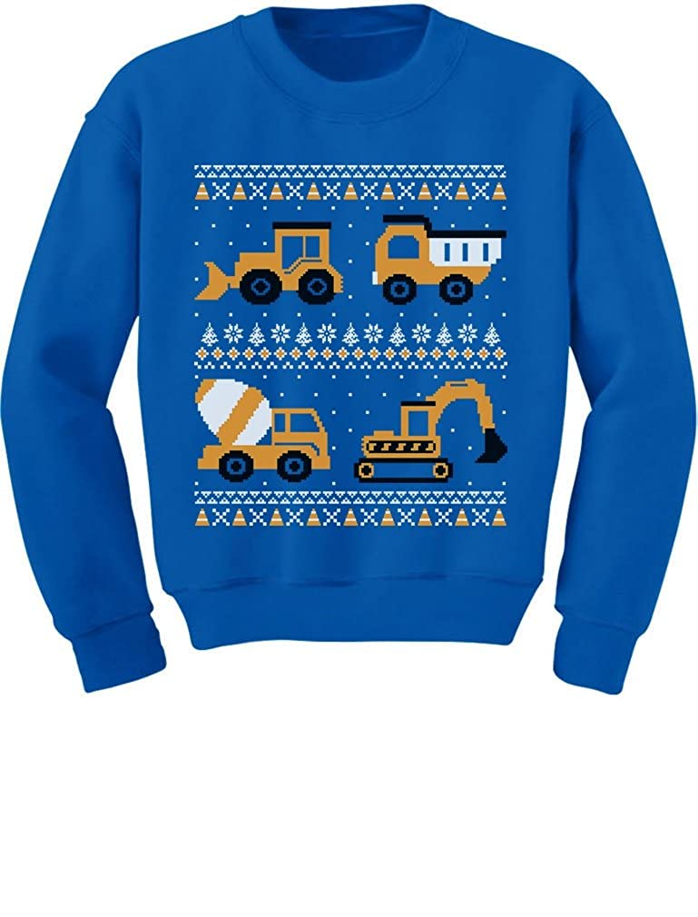 Tractors /& Bulldozers Ugly Christmas Sweater Style Toddler//Kids Sweatshirts