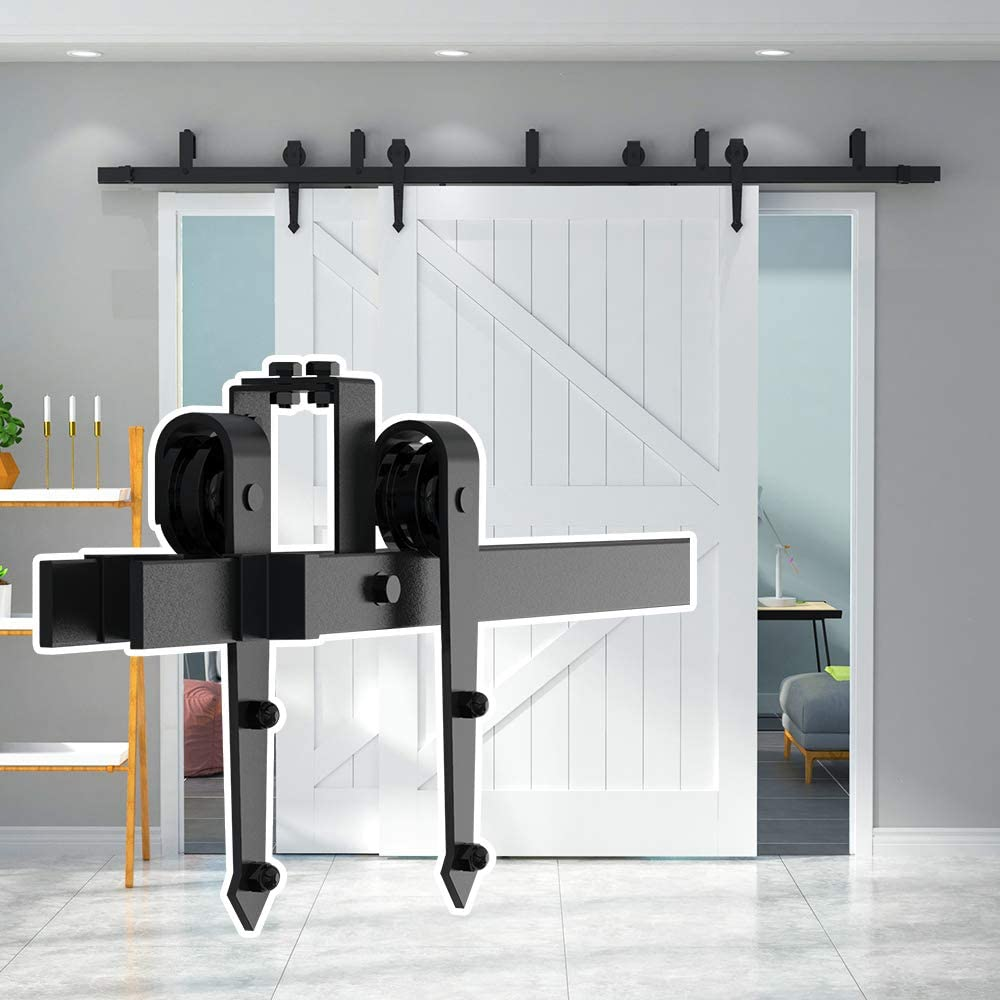 skysen 10FT Low Ceiling Heavy Duty Sliding Barn Door Hardware Double Track Bypass Double Door Kit Black Bypass Arrow Shape-2