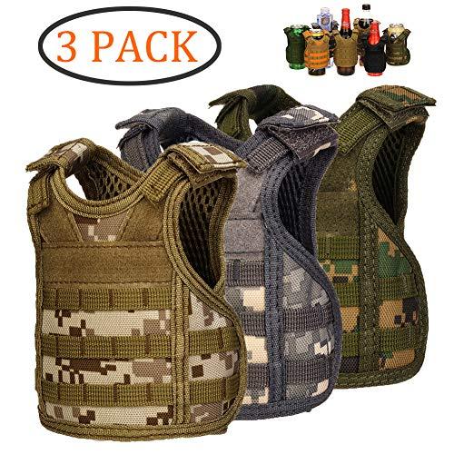 DSMY Bottle Vest Tactical Beverage Cooler Military Beer Mini Molle Vest Hunting Bottle Drink Adjustable Shoulder Straps (3 Camouflage)