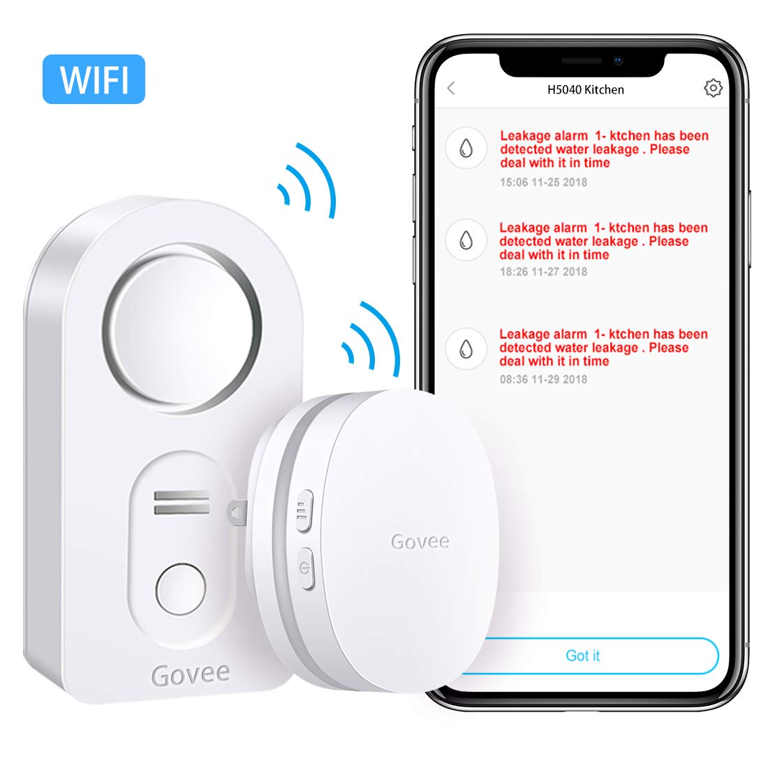 Govee WiFi Water Leak Detector, Smart APP Leak Alert, Wireless Water Sensor and Alarm with Email, Notification, App Alerts, Remote Monitor Leak for Home Security Basement (Not Support 5G WiFi)