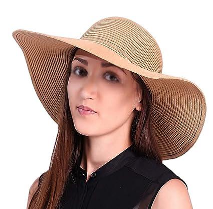 TININNA Plegable Sombrero Verano Grande Ancho de la Playa del Borde del  Sombrero de Sun de 8bf4f1df91b