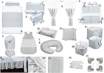 Vizaro - Pack Completo Bebé 24 artículosCUNA 60x120cm - 100% ALGODÓN PURO - CALIDAD hecha en UE - OekoTex sin sustancias nocivas - C. Estrellitas Blancas: ...