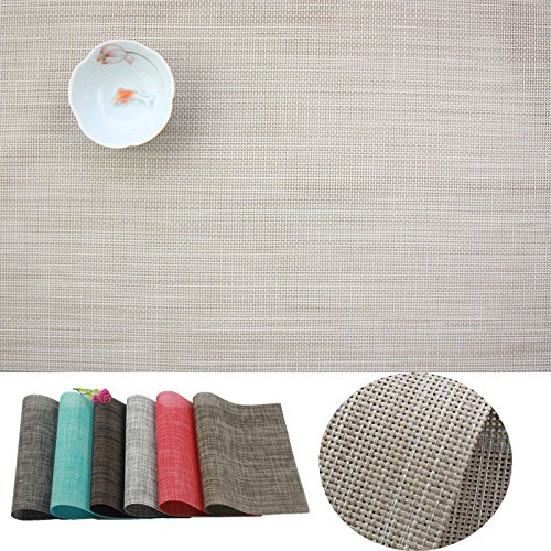 Placemat,IMIYOKU MiniBasketweave Woven Vinyl Non-slip Insulation Placemat Washable Table Mats (8, Beige) (Runners Unusual Table)